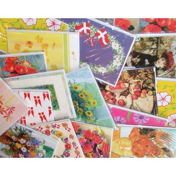 4 dobbelte kort med kuverter - Forår