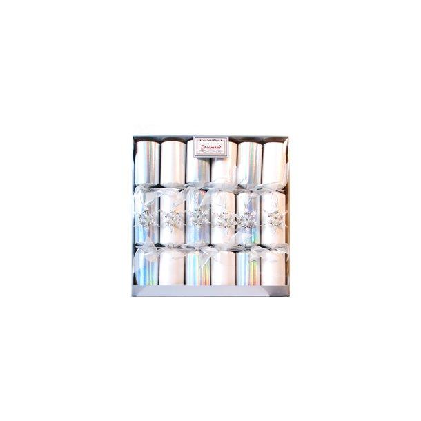 Knallerter - 6 stk store - hvid/sølv