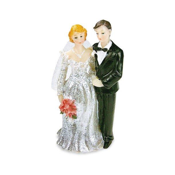 8 cm brudepar med slør - Kjole med glimmer