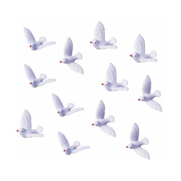 Pynt - Hvide duer 12 stk