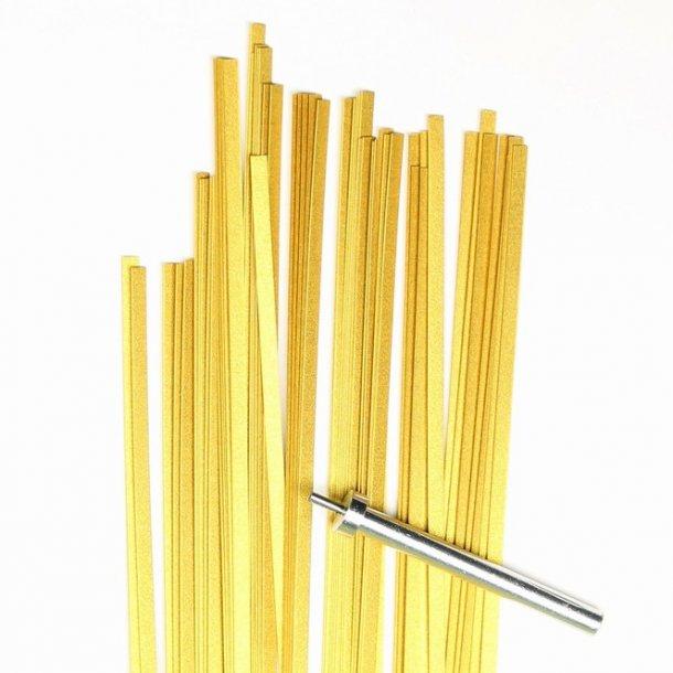 3 mm strimler - 50 stk - guld med glitter