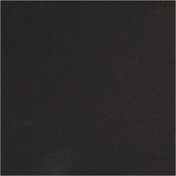 Servietter 40x40cm - stof look - Sort