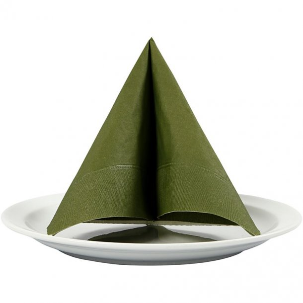 Servietter 33x33cm - 3 lags - Mørk grøn