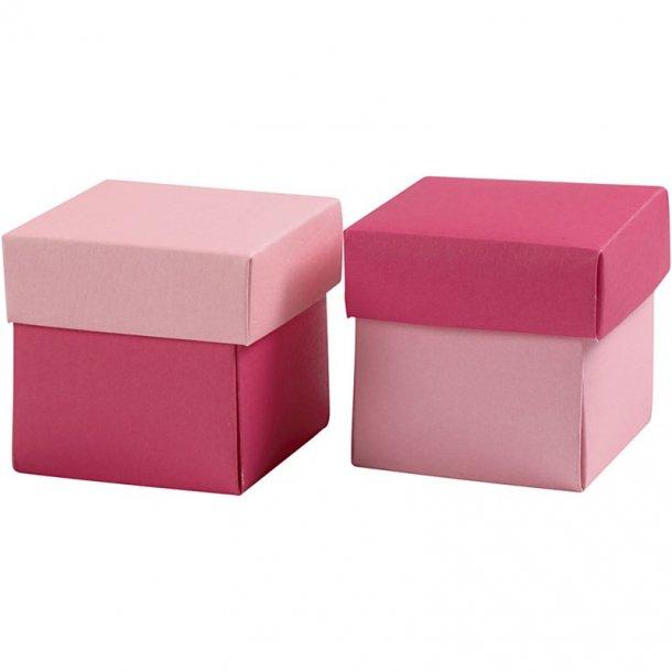 Fold-selv-æske - 10 stk - Rosa / pink