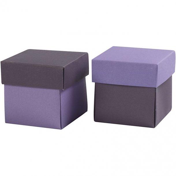 Fold-selv-æske - 10 stk - Mørk lilla / lilla