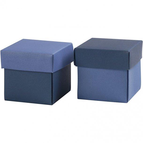 Fold-selv-æske - 10 stk - Lys blå / mørk blå